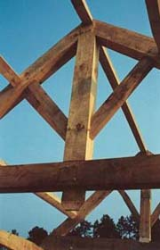 Timber frame house - king post truss